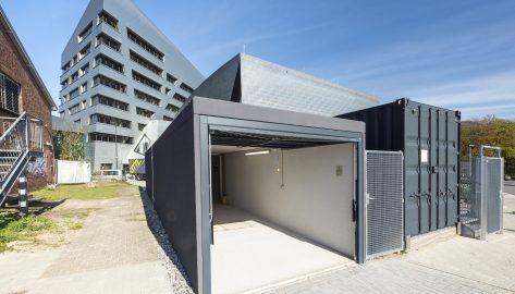 2 Fertiggaragen als Durchfahrtsgarage, Uni Lüneburg