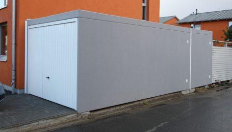 Fertiggarage als Einzelgarage mit Geräteraum