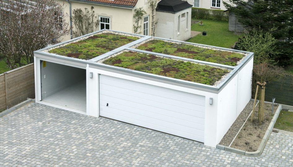 Dachbegrünung einer Großraumgarage als Doppelgarage