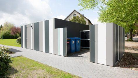 Lagerboxen mit Entsorgungsbereich